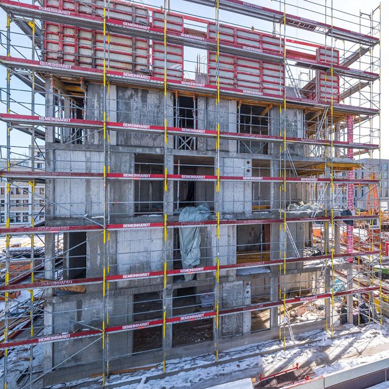 Baustelle Meiller Gärten: Rohbau Außenansicht Wohngebäude